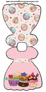 Cupcakes Fofinhos – Kit Completo com molduras para convites, rótulos para guloseimas, lembrancinhas e imagens! |Fazendo a Nossa Festa Fun Fold Cards, Folded Cards, Quilling Craft, Free Prints, Digi Stamps, Baby Shower Favors, Baby Cards, Card Templates, Paper Dolls