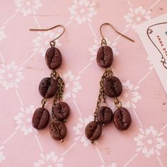 Coffee beans earrings with chains Coffee by AnyankasHandiworks
