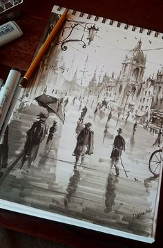 City sketch, Darek Zabrocki Some Victorian alike sketching, mostly markers and a bit of pencil as base line. City Sketch, Arte Sketchbook, Travel Sketchbook, Sketchbook Ideas, Urban Sketching, Pencil Sketching, Pencil Drawings, Graphite Drawings, Art Station