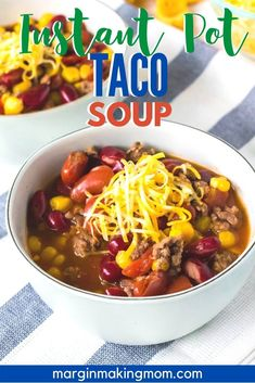 Okay, this taco soup is a staple in our home because it's SO easy to make in the Instant Pot! It's a quick soup made with pantry staples--get the recipe today! #instantpot