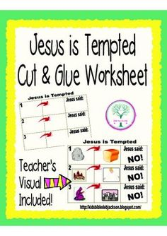 Jesus is Tempted Worksheet Freebie. Teacher's Visual included.