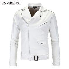 >> Click to Buy << Envmenst 2017 New Fashion Men Brand Hem Belt PU White Leather Jacket Motorcycle Leather Jacket Men Outwear Coat  #Affiliate
