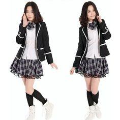 Amazon.com: Winter Classic Korean School Girl Uniform Cosplay Costume Size Medium M: Toys & Games