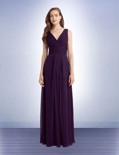 1139 Long / floor-length Chiffon Bridesmaids Dress with V-neck neckline. Pictured here in an elegant eggplant