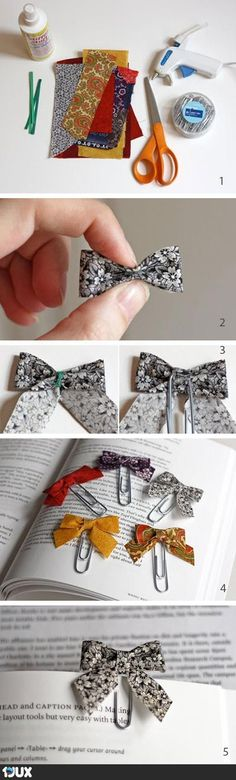 LITTLE BOW BOOKMARKERS. Paint the paperclips too, or get colored ones. Lesezeichen - so simpel :)