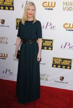 """Best Actress winner #CateBlanchett (for #BlueJasmine) in #Lanvin at the #CriticsChoice awards 2014.  Note from Cindy Ossias re the Lanvin: Sorry... the word is """"schmatte."""""""