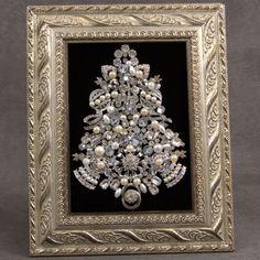 DIVINE Vintage JEWELRY Christmas Tree Framed Art PIN EARRINGS RHINESTONE PEARL 4 | eBay