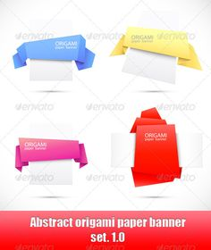 Abstract origami paper banner. Set 1.0