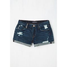 ModCloth 90s Short Length Deschutes the Breeze Shorts (100 BRL) ❤ liked on Polyvore featuring shorts, apparel, blue, bottoms, short, ripped shorts, ripped short shorts, blue short shorts, torn shorts and distressed shorts
