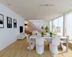 Interni in total white, dal pavimento alla parete attrezzata, agli infissi (porte e finestre), tutto rigorosamente in bianco