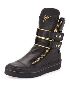 Men\'s Leather High-Top Sneaker with Buckle, Black by Giuseppe Zanotti at Neiman Marcus.
