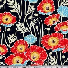 Like its London-based counterpart, Notting Hill by Joel Dewberry is a community of fashionable, European-inspired designs that blend a variety of patterns and stunning floral motifs. Try on this unexpectedly harmonious, fashion-forward and color rich fabric collection for a dashing result. This bold print features brightly colored poppies, and is printed on extra-wide sateen with a beautiful finish - perfect for bags and structured garments!on This medium weight fabric is 100% cotton sateen…