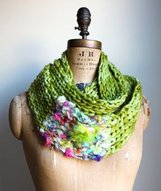 Bohemian knit loop infinity scarf. Chartreuse. Pink. Purple. Feathers.