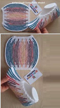 wickeln Kolay Çizgili Torba Patik Modeli - Crochet and Knitting Patterns Knitting Stitches, Knitting Socks, Knitting Patterns Free, Baby Knitting, Crochet Patterns, Free Pattern, Crochet Ideas, Afghan Patterns, Crochet Slipper Pattern