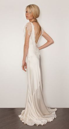 'Belinda' silk charmeuse bridal gown by Sarah Janks. What about if Scarlett Johannson was having a1920s Art Deco wedding? | Visit wedding-venues.co.uk