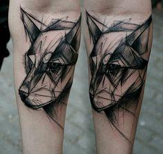 Wolf tattoo by kamilmokot