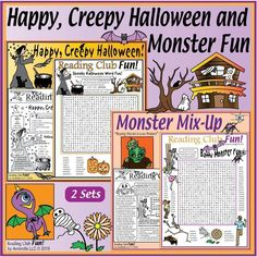 Enjoy 2 Halloween-themed Two-Page Activity Sets and several Halloween-themed Puzzles. Includes: Happy, Creepy Halloween Puzzle Set and Monster Mix-Up Puzzle Set Have spooky fun while learning and reinforcing lots of vocabulary words. Halloween Word Search, Halloween Puzzles, Halloween Words, Creepy Halloween, Halloween Treats, Worksheets, Printable Puzzles For Kids, Autumn Crafts, Autumn Activities