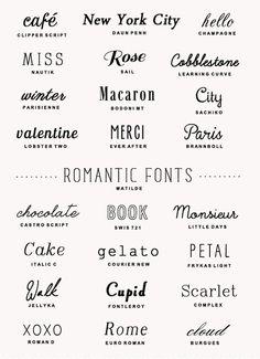 Romantic fonts |Polices de caractères romantiques