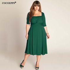 de101dbadc5a Women Dresses Elegant Office Dress Patchwork Half Sleeve Plus Size Women  Clothing Green