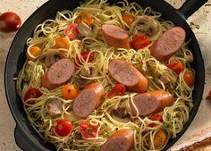 Johnsonville Smoked Sausage and Spaghetti Skillet Dinner