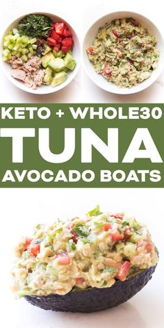 Keto Tuna Avocado Boats Recipe - tuna salad with no mayonnaise just tuna avocado and some fresh veggies. This fast healthy lunch is also Paleo gluten free dairy free grain free low carb and sugar free. You're gonna love it! Good Healthy Recipes, Whole 30 Recipes, Healthy Foods To Eat, Healthy Eating, Keto Foods, Healthy Weight, Healthy Snacks, Avocado Boats, Tuna Avocado