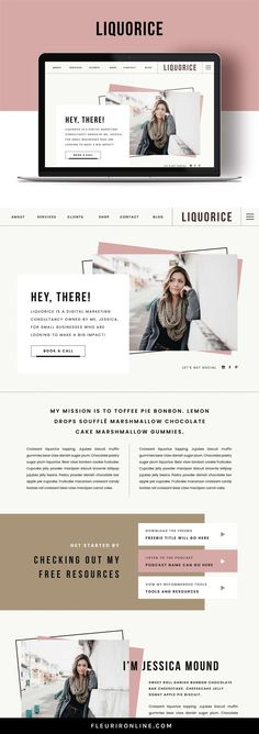 Liquorice is a Showit website template for online business owners such as virtual assistants, social Website Design Inspiration, Website Design Layout, Web Layout, Personal Website Design, Design Layouts, Website Designs, Website Ideas, Design Ideas, Design Websites