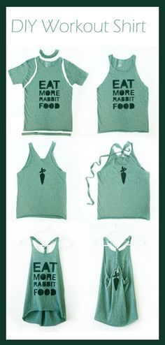 DIY Workout Shirt, mine was a little short in the front w/out cutting it. Next time I will make sure its an extra long shirt