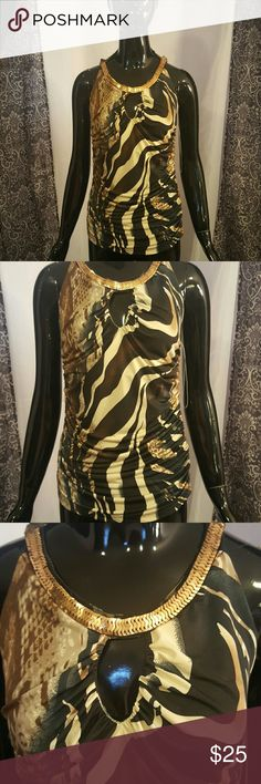 Animal attraction top Mixed animal silky print top with ruched sides and halter neck with gold sequins Tops Blouses