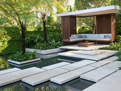 A show garden will often feature modern design that includes sculptures and interesting planting designs.
