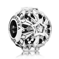 PANDORA Disney Frozen Snowflakes charm in sterling silver and sparkling cubic zirconia.<br><br>Perfectly capturing the clean, crisp beauty of a snow-filled landscape, this striking openwork charm pays homage to the icy power and wonder of the winter season.<br><strong>Style: </strong>791563CZ