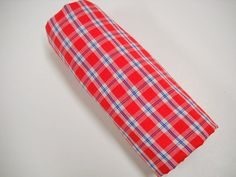What a find!  Perfect for a little boys shirt!  Red Plaid Fabric at StitchKnit, $7.00