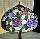 """Tiffany Style Stained Glass Table Lamp Multi Color Roses Metal Base 18"""" Shade - http://collectibles.goshoppins.com/lamps-lighting/tiffany-style-stained-glass-table-lamp-multi-color-roses-metal-base-18-shade/"""