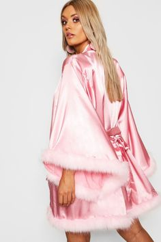 Womens Gemma Collins Short Kimono Robe With Fluffy Sleeve - Pink - 8 Girly Outfits, Cool Outfits, Pink Fashion, Fashion Outfits, Trendy Fashion, Fashion Women, Gemma Collins, Pijamas Women, Short Kimono