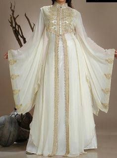 Fabulous White & Gold Abaya,