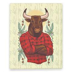 Flannel Taurus #taurus #flannel #canvasart #animal #hipster