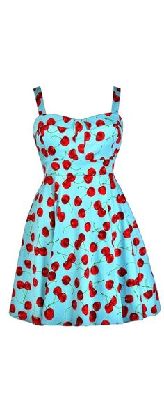 Cheerful Cherry Blue Printed Fit and Flare Dress- Plus Size  www.lilyboutique.com