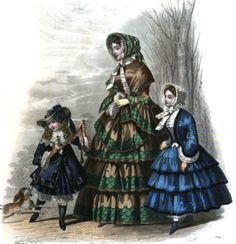 Early Victorian Era Fashion Plate - April 1852 Le Moniteur de la Mode