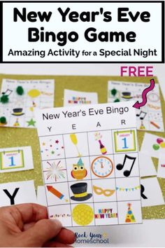 Looking for a fun yet easy way to celebrate New Year's Eve with kids? Grab this free printable New Year's Eve Bingo Game! Your kids will have a blast as play & create special memories. Kids New Years Eve, New Years Eve Games, Projects For Kids, Diy For Kids, Crafts For Kids, Preschool Crafts, Art Projects, New Year's Eve Activities, Morning Activities