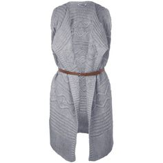 Miss Selfridge Grey Waterfall Belted Cardi (80 CAD) ❤ liked on Polyvore featuring tops, cardigans, mid grey, belted cardigan, miss selfridge, grey top, belted top and gray cardigan
