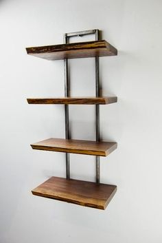 Trees live on with this hand crafted wooden shelf. Functional art at its finest, as artisan furniture maker, Scott Myers, utilizes reclaimed, air-dried woods. Metal Furniture, Woodworking Furniture, Unique Furniture, Furniture Plans, Diy Furniture, Furniture Design, Furniture Stores, Furniture Assembly, Furniture Outlet