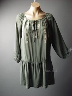 Boho Medieval Country Peasant Drop Waist Embroidered Top Blouse 68 mv Tunic M L #Other #Tunic #Casual
