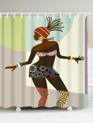 African Woman Fabric Shower Curtain   COLORMIX