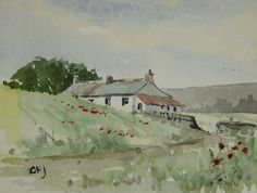 Original Signed GFJ Miniature Watercolour Painting  of a Cornwall Cottage - Art