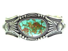 Harry H Begay Cuff Bracelet Sterling Silver Royston Turquoise Signed Navajo USA #SterlingSilver