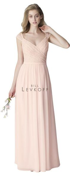 Bill Levkoff Bridesmaid style# 1250. Corded Lace V-neck bodice, criss cross pleating adorns the bodice with cap sleeves and a wide V-back. Available at Bridal Collections Spokane, WA