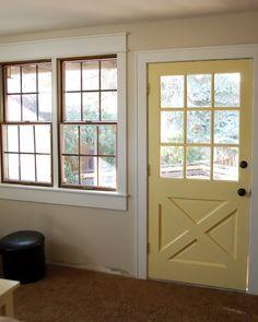 window trim-love the yellow door!
