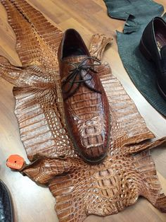 5bb654757715 MURAT ERBAS Genuine Crocodile Leather Handpainted Brown Derby Shoes   crocodileshoes  menluxuryshoes  menluxuryfootwear