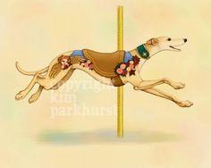 Carousel Cream Greyhound Series Signed Print 4 от toadbriar