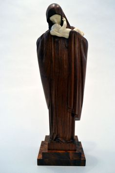 View this item and discover similar for sale at - A wonderful sculpture by Lucienne Antoinette Heuvelmans France The sculpture is handcarved walnut and ivory. Heuvelmans studied at Madonna And Child, Blessed Virgin Mary, Hand Carved, Abstract Art, Sculpture, Statue, Children, Saints, Batman