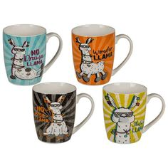 Llama Tassen Set bei Close Up® Lamas, China Mugs, Bone China, Ebay, Tableware, Designs, Orange, Products, Tablewares